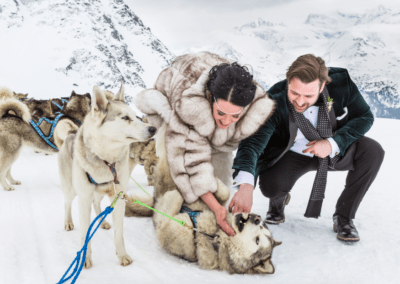 Arrive by dog sled at your wedding