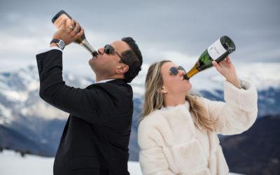 Apres ski party on skis