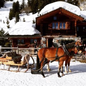 romantic horse and sleigh ride in Verbier in the Swiss Alps