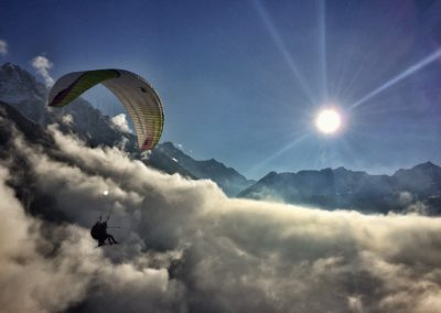 Panoramic tandem paraglide flight