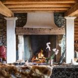 chalet fireplace in verbier