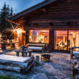 nightime view of luxury chalet in verbier
