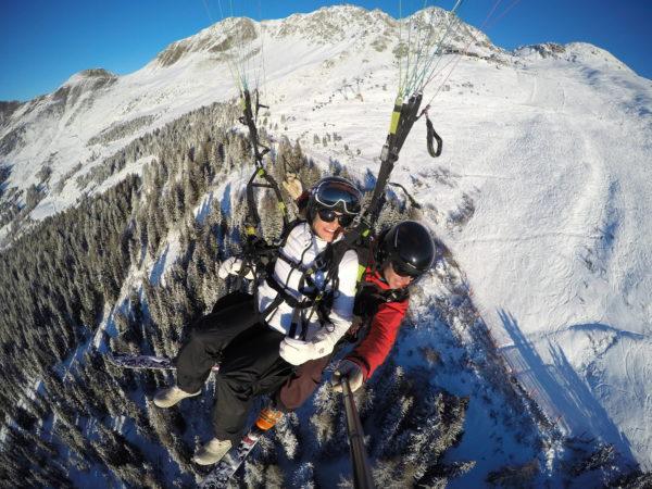 paragliding to an adventure wedding in verbier